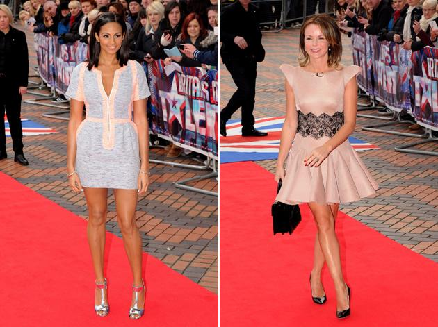 BGT Fash off: Both girls donned peach and pastel shades. Alesha Dixon wore a grey and peach jersey dress. Amanda Holden went for a nude skater dress with black lace detail. Verdict: Amanda wins this round. Copyright [WENN]