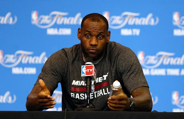 LeBron James speaks to the media on an off day following Game 4 of the 2014 NBA Finals. (Andy Lyons/Getty Images)