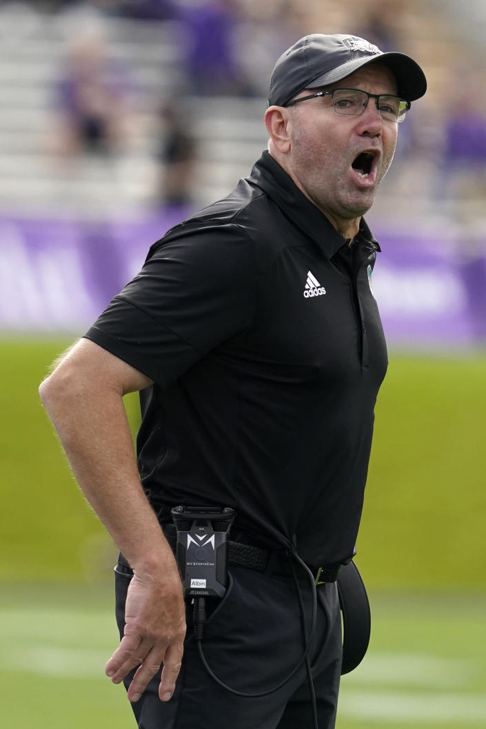 Ohio head coach Tim Albin reacts to a call during the second half of an NCAA college football game against Northwestern in Evanston, Ill., Saturday, Sept. 25, 2021. Northwestern won 35-6. (AP Photo/Nam Y. Huh)