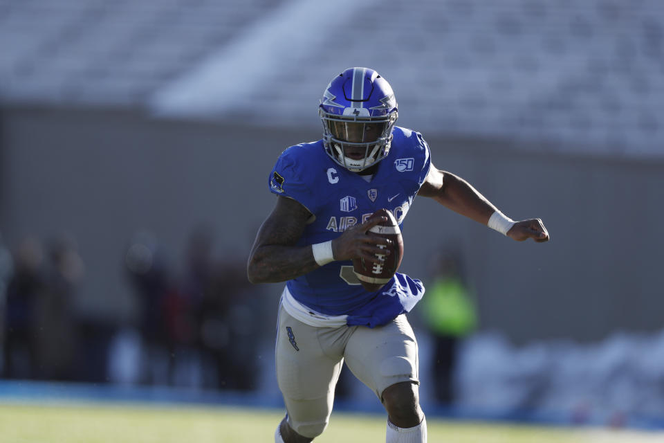 Air Force quarterback Donald Hammond III (5) in the second half of an NCAA college football game Saturday, Nov. 30, 2019, at Air Force Academy, Colo. Air Force won 20-6. (AP Photo/David Zalubowski)
