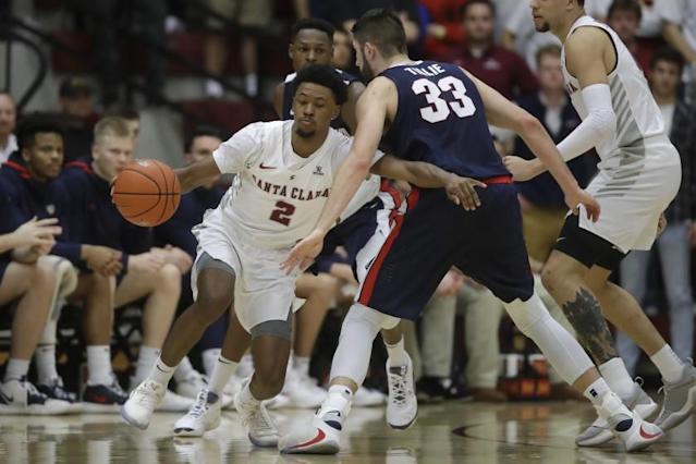"Santa Clara guard Tahj Eaddy (2) dribbles against Gonzaga forward Killian Tillie (33) during a game on Jan. 30. <span class=""copyright"">(Jeff Chiu / Associated Press)</span>"