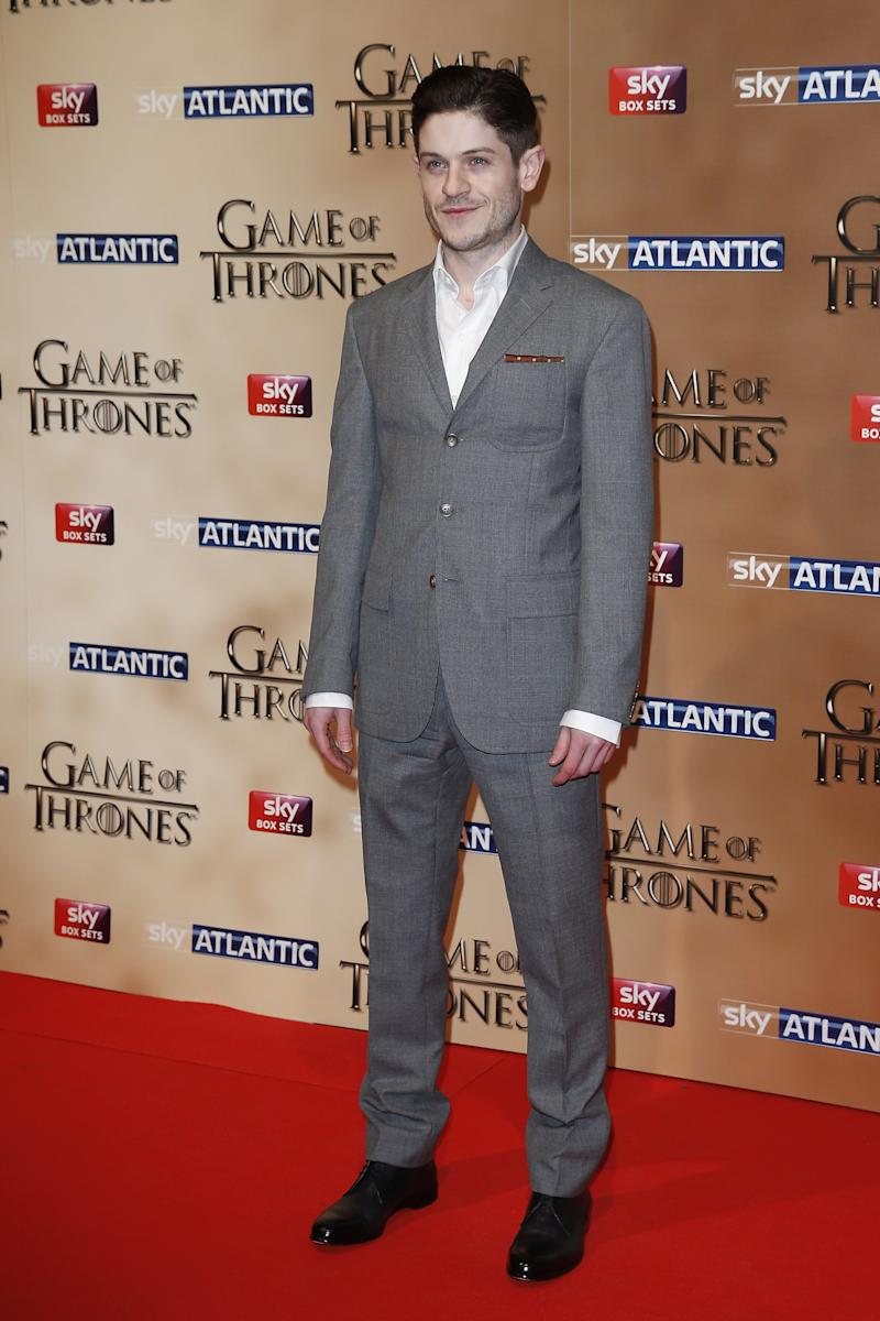 Iwan Rheon, who plays the vile Ramsay Bolton, at the premiere of Game of Thrones season five in London, England, March 2015.