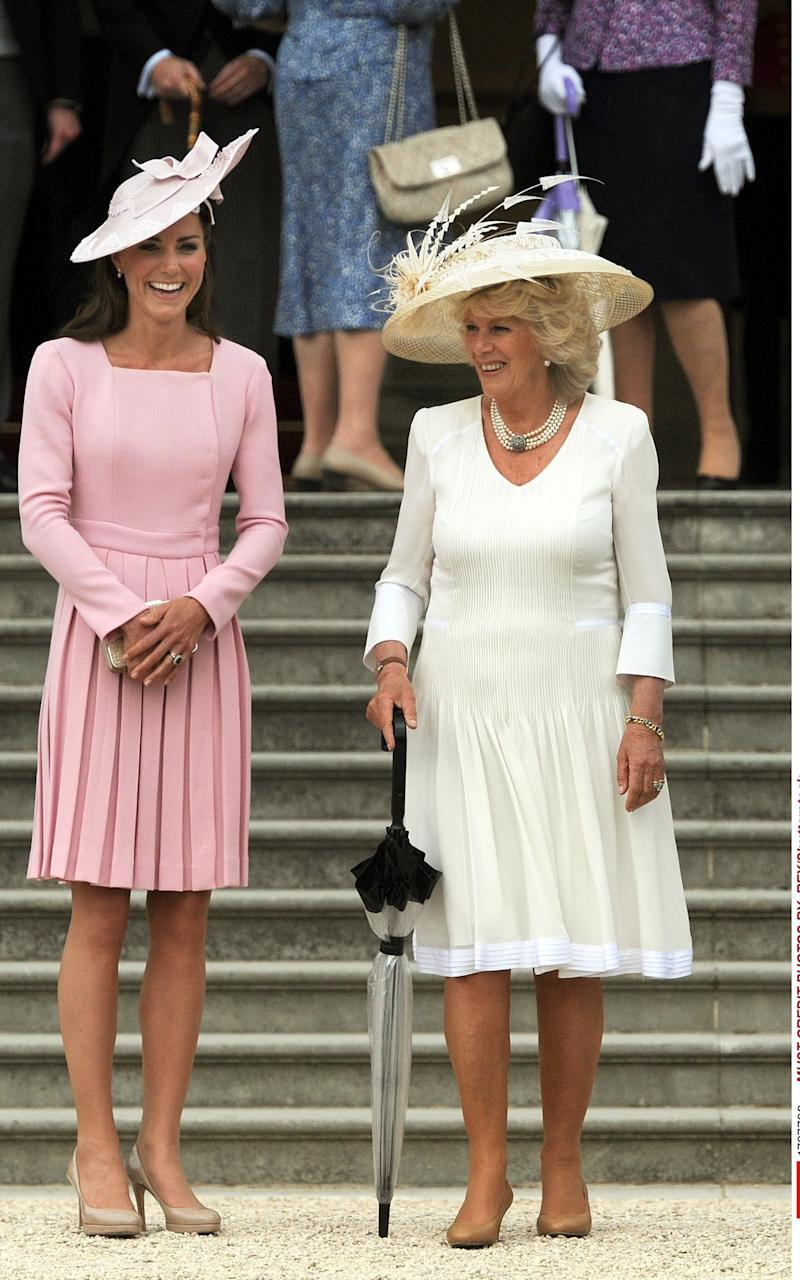 The Duchess of Cambridge at the Queen's garden party in May 2012 - Credit: Rex