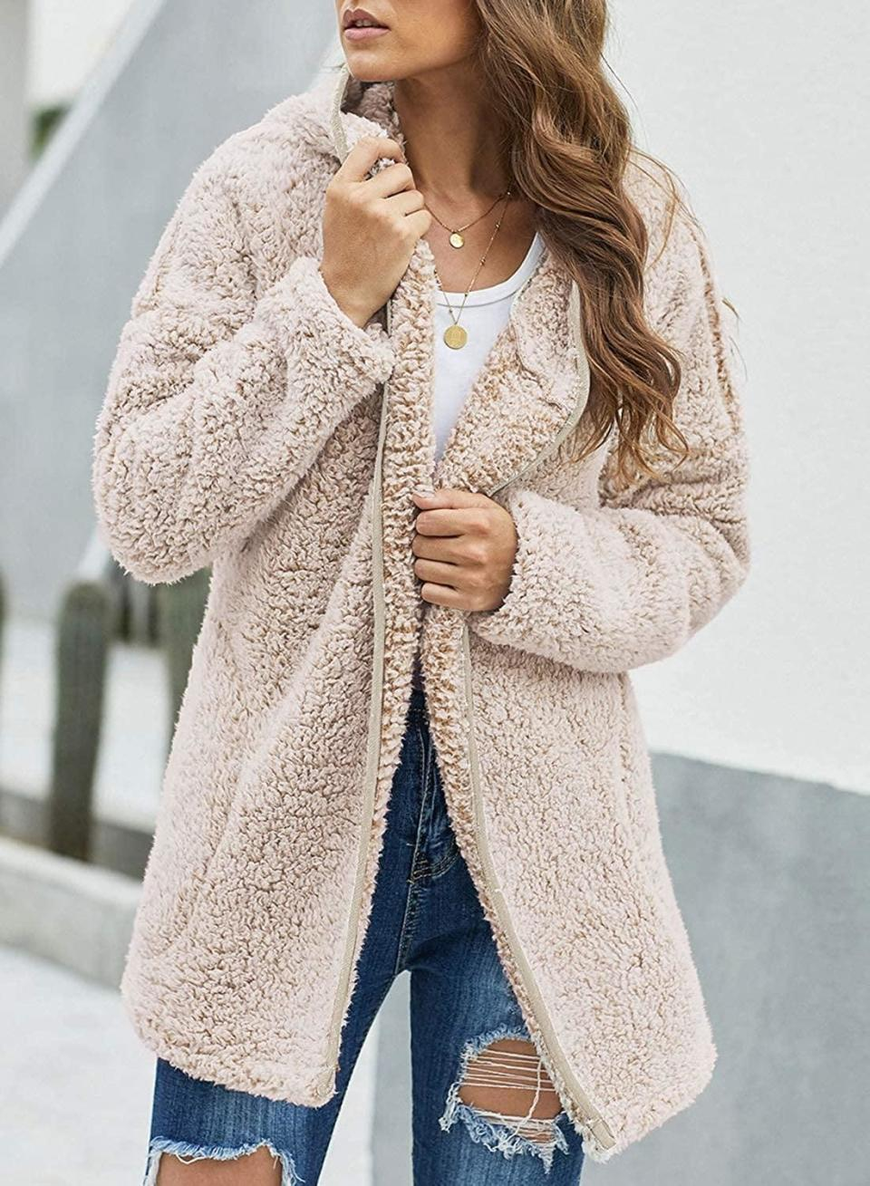 <p>You'll never want to take off this cozy <span>Dokotoo Fleece Oversized Long Sleeve Sherpa Coat</span> ($41).</p>