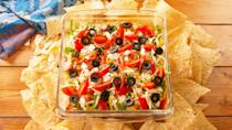 """<p>This easy taco dip is SO delicious, we can't believe how simple it is.<br></p><p>Get the recipe from <a href=""""https://www.delish.com/cooking/recipe-ideas/a25740692/easy-taco-dip-recipe/"""" rel=""""nofollow noopener"""" target=""""_blank"""" data-ylk=""""slk:Delish"""" class=""""link rapid-noclick-resp"""">Delish</a>.</p>"""