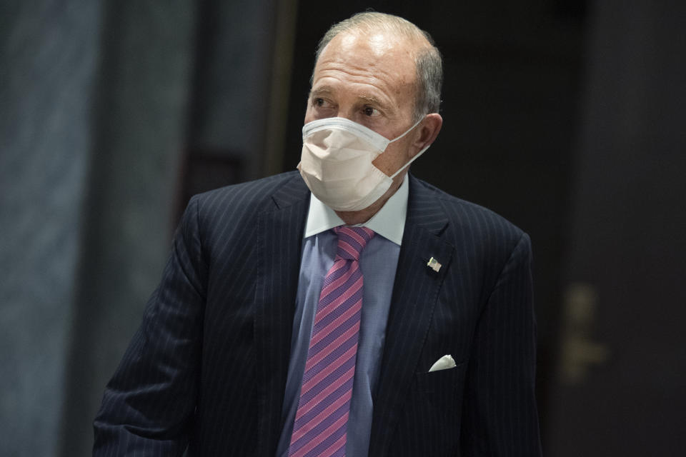 UNITED STATES - JULY 21: Larry Kudlow, White House economic adviser, leaves the Senate Republican Policy luncheon in Hart Building on Tuesday, July 21, 2020. (Photo By Tom Williams/CQ-Roll Call, Inc via Getty Images)