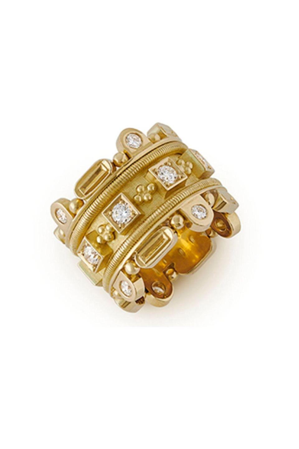"""<p><strong>Elizabeth Gage</strong></p><p>elizabeth-gage.com</p><p><strong>$22862.00</strong></p><p><a href=""""https://elizabeth-gage.com/rings/diamond-crown-ring/"""" rel=""""nofollow noopener"""" target=""""_blank"""" data-ylk=""""slk:Shop Now"""" class=""""link rapid-noclick-resp"""">Shop Now</a></p><p>The band of Elizabeth Gage's Diamond Crown Ring is as exquisite as the 16 diamonds circling it. </p>"""