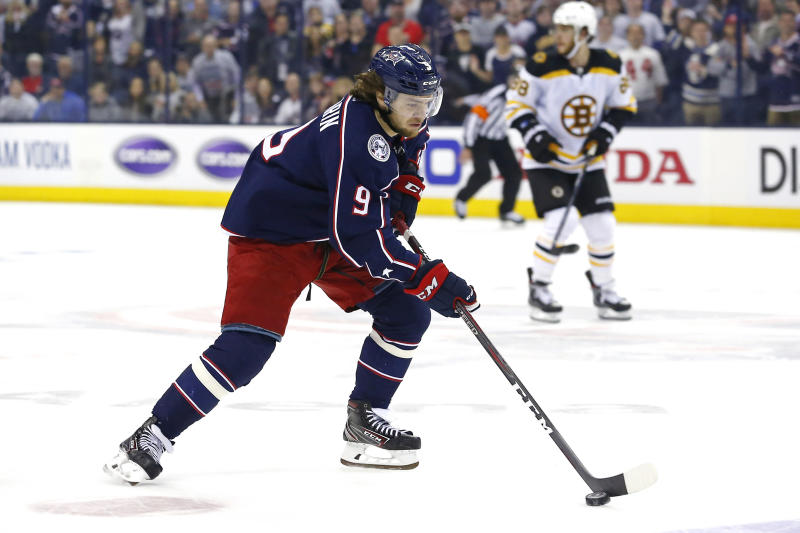 Apr 30, 2019; Columbus, OH, USA; Columbus Blue Jackets left wing Artemi Panarin (9) controls the puck against the Boston Bruins in the third period during game three of the second round of the 2019 Stanley Cup Playoffs at Nationwide Arena. Mandatory Credit: Russell LaBounty-USA TODAY Sports