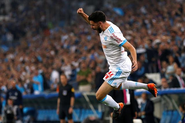 Soccer Football - Ligue 1 - Olympique de Marseille vs Amiens SC - Orange Velodrome, Marseille, France - May 19, 2018 Marseille's Morgan Sanson celebrates scoring their first goal REUTERS/Philippe Laurenson