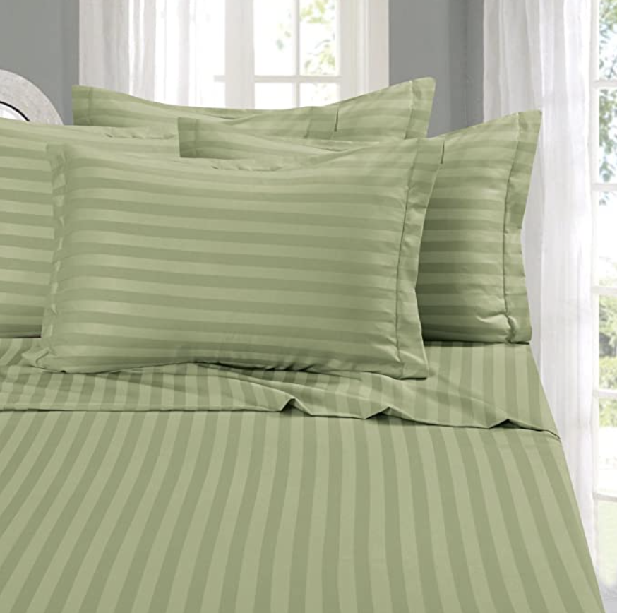 PHOTO: Amazon. Elegant Comfort #1 Bed Sheet Set, Super Silky Soft, 1500 Thread Count Egyptian