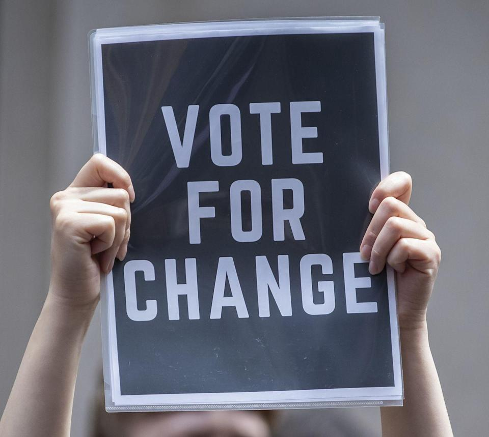 <p>An important point, noted here and on a number of signs: Protesting is important. So is voting to continue working for change, at both the local <em>and</em> national levels. </p>