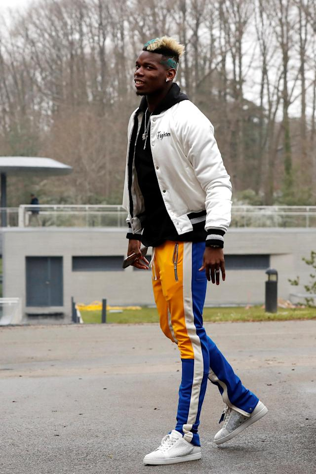 Soccer Football - France Training - Clairefontaine, France - March 19, 2018 France's Paul Pogba arrives before training REUTERS/Gonzalo Fuentes