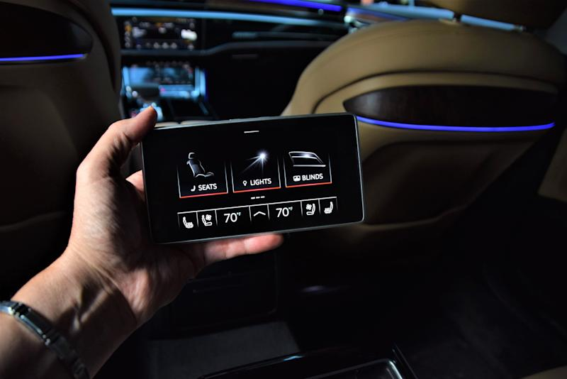 The Audi A8LL features a removable tablet that controls seats and lights.