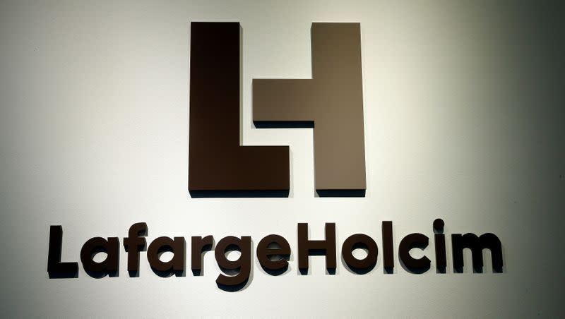 The logo of LafargeHolcim, the world's largest cement maker, is seen in Zurich
