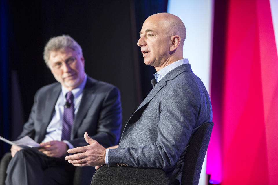 WASHINGTON, DC- MAY 18:Martin Baron interviews Jeff Bezos at The Washington Post via Getty Images Transformers event. (Photo by April Greer For The Washington Post via Getty Images)