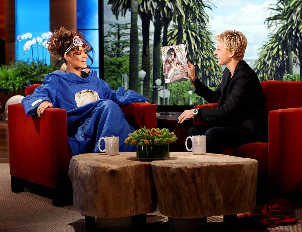"Rihanna gave ""The Snuggie"" one heck of a free advertisement during her appearance on ""The Ellen DeGeneres Show"" this week when she donned the novelty gift adorned with a photo of Ellen. The two talked romance during the interview, and the 23-year-old pop star admitted that the single life isn't all it's cracked up to be. ""I do put a lot into my job. Most of my time if not all of it.  It definitely affects my personal life,"" Rihanna said. ""My personal life is pretty much non-existent.  Which is not good, not for the long run."""