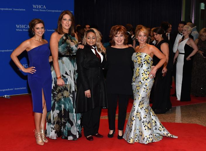 "<p>The cast of ""The View,"" Paula Faris, Michelle Collins, Raven-Symoné, Joy Behar and Candace Cameron Bure, attend the 102nd White House Correspondents' Dinner, April 30. <i>(Photo: Larry Busacca/Getty Images)</i></p>"
