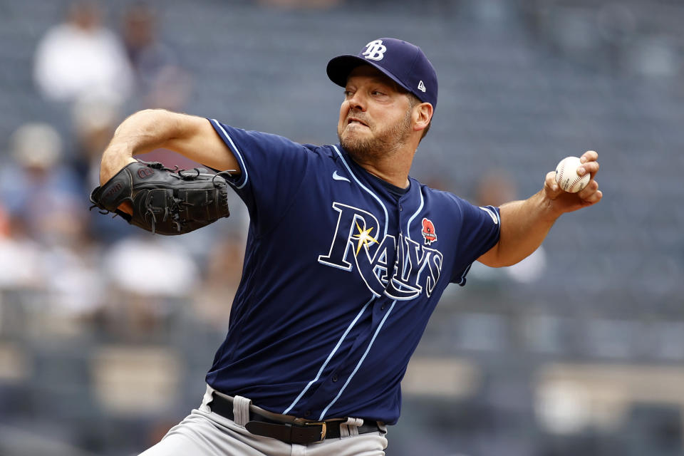 Tampa Bay Rays starting pitcher Rich Hill delivers a pitch during the first inning of a baseball game against the New York Yankees on Monday, May 31, 2021, in New York. (AP Photo/Adam Hunger)