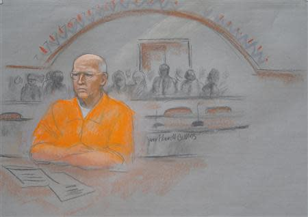 "A courtroom artist's sketch shows convicted mobster James ""Whitey"" Bulger in federal court during the first of two days of his sentencing hearing in Boston, Massachusetts November 13, 2013. REUTERS/Jane Collins"