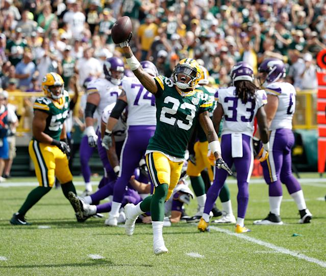 <p>Jaire Alexander #23 of the Green Bay Packers reacts after making a defensive stop during the first quarter of a game against the Minnesota Vikings at Lambeau Field on September 16, 2018 in Green Bay, Wisconsin. (Photo by Joe Robbins/Getty Images) </p>