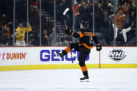 Philadelphia Flyers' Ivan Provorov celebrates after scoring a goal during the first period of an NHL hockey game against the New York Islanders, Saturday, Nov. 16, 2019, in Philadelphia. (AP Photo/Matt Slocum)