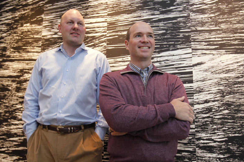 In this photos taken Monday, Nov. 1, 2010, Internet browser pioneer Marc Andreessen, left, and his longtime business partner, Ben Horowitz, pose in their office in Menlo Park, Calif. A venture capital fund run by the pair has raised another US$650 million as the firm looks for opportunities in technology startups. (AP Photo/Paul Sakuma)
