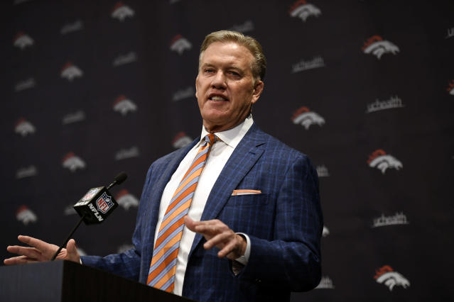 John Elway announces Vic Fangio as the 17th head coach of the Denver Broncos Football Club in franchise history Englewood, CO. (Getty Images)