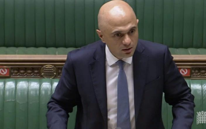 Sajid Javid, the Health Secretary, speaks in the Commons today - Parliament TV