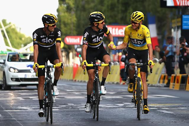 A Rapha-clad Team Sky, led by Chris Froome (UK) wins the 2016 Tour de France. Source: Getty Images
