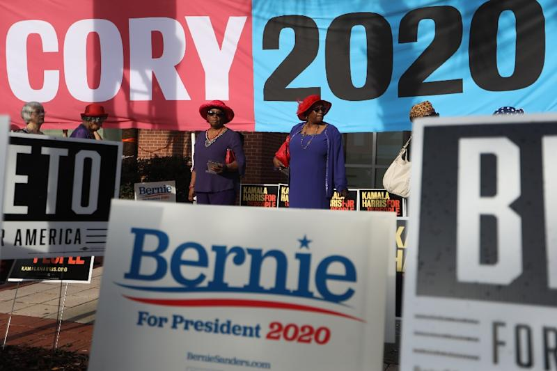 Campaign signs for Democratic candidates in the 2020 US presidential election in Columbia, South Carolina on June 22, 2019 (AFP Photo/Logan Cyrus)