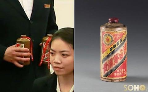 The bottle of luxury Kweichow Moutai at the Kim-Xi dinner, left, and an earlier version of the 2003 'vintage' opened for the North Korean leader's visit - Credit: KCNA