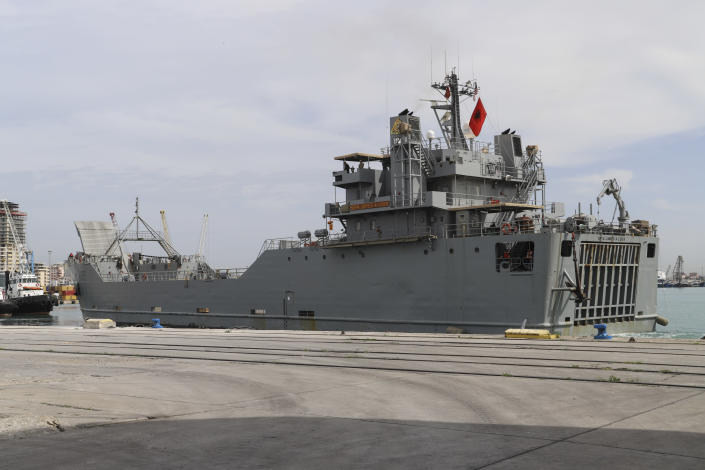 U.S. SP4 James A. Loux army vessel is seen at Albania's main port of Durres, Saturday, May 1, 2021. Florida National Guard's 53rd Infantry Brigade Combat Team were being discharged from the USNS Bob Hope ahead of a two-week training of up to 6,000 U.S. troops in six Albanian military bases, as part of the Defender-Europe 21 large-scale U.S. Army-led exercise. (AP Photo/Hektor Pustina)