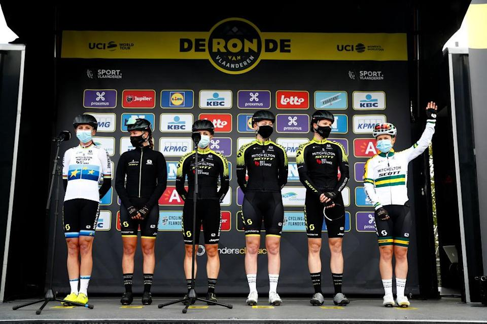 OUDENAARDE BELGIUM  OCTOBER 18 Start  Annemiek Van Vleuten of The Netherlands European Champion Jersey Jessica Allen of Australia Grace Brown of Australia Gracie Elvin of Australia  Sarah Roy of Australia and Amanda Spratt of Australia and Team Mitchelton  Scott   Mask  Covid safety measures  Team Presentation  during the 17th Tour of Flanders 2020  Ronde van Vlaanderen  Women Elite a 1356km stage from Oudenaarde to Oudenaarde  RVV20  FlandersClassic  on October 18 2020 in Oudenaarde Belgium Photo by Bas CzerwinskiGetty Images
