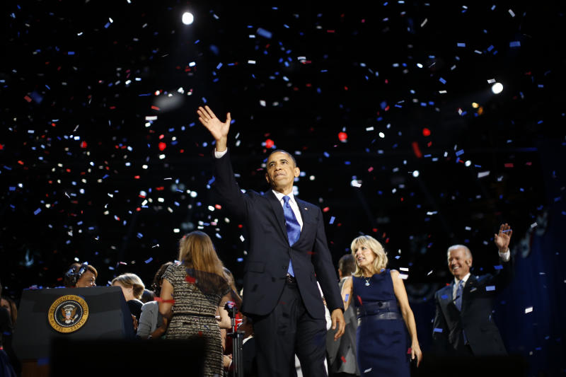 U.S. President Barack Obama celebrates during his election night rally in Chicago