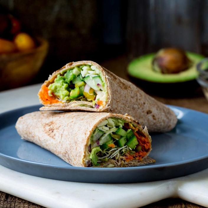 <p>Use whichever veggies you have on hand to fill up this veggie wrap. The avocado and hummus help hold the wrap together--and provide heart-healthy fat and fiber.</p>