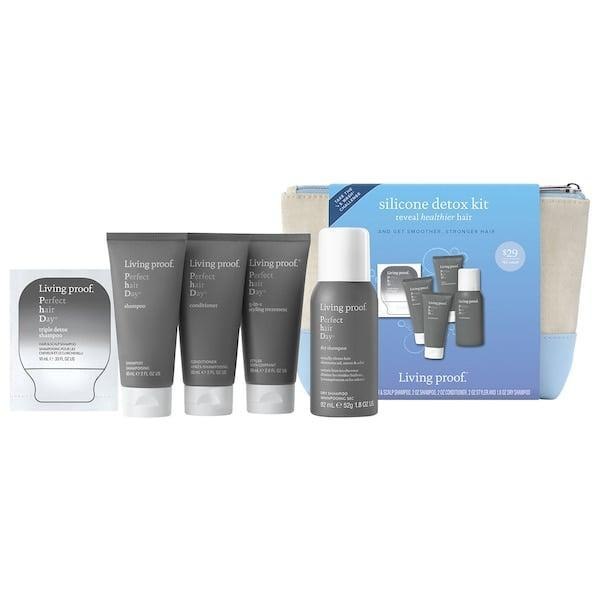 <p>Choose from the <span>Living Proof Perfect Hair Day Silicone Detox Kit</span> ($22, originally $29) or <span>Living Proof Restore Silicone Detox Kit</span> ($22, originally $29) based on your main hair concern. Each set includes a regular shampoo, a detox shampoo, a conditioner, and two styling products. </p>