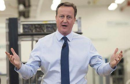 Britain's Prime Minister David Cameron speaks to factory staff at the Siemens plant in Chippenham, southern England
