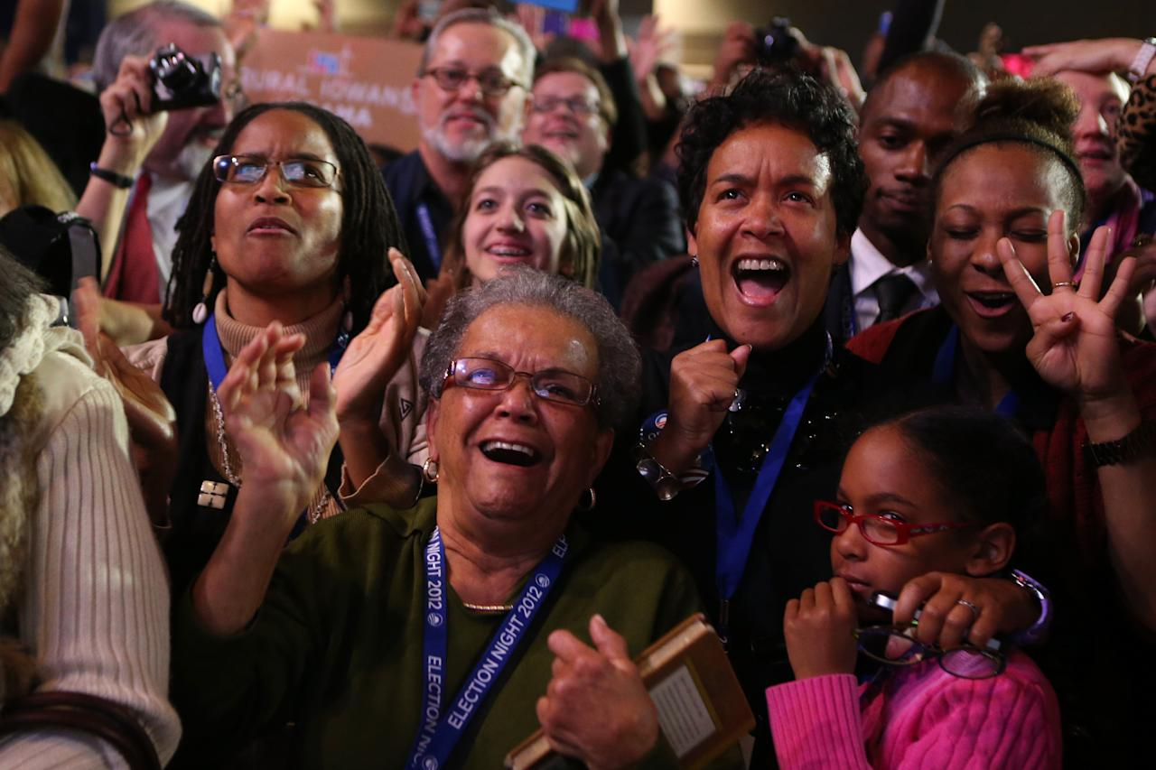 Supporters of U.S. President Barack Obama cheer after networks project Obama as reelected during the Obama Election Night watch party at McCormick Place November 6, 2012 in Chicago, Illinois. Networks project Obama has won reelection against Republican candidate, former Massachusetts Governor Mitt Romney.  (Photo by Chip Somodevilla/Getty Images)