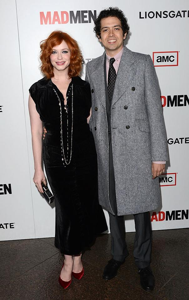"Christina Hendricks and Geoffrey Arend arrive at the Premiere of AMC's ""Mad Men"" Season 6 at DGA Theater on March 20, 2013 in Los Angeles, California."
