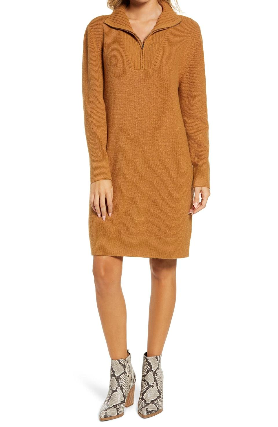 <p>You'll slip into this <span>Treasure &amp; Bond Long Sleeve Mock Neck Sweater Dress</span> ($79) any day.</p>