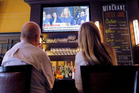 Lunch diners watch the televised testimony by Christine Blasey Ford in Boston
