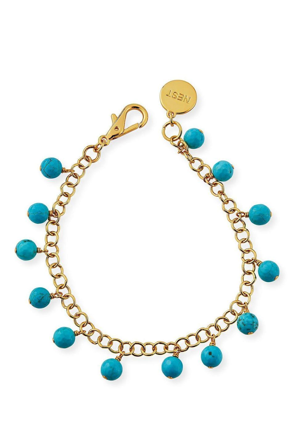 """<p><strong>NEST Jewelry</strong></p><p>Neiman Marcus</p><p><strong>$95.00</strong></p><p><a href=""""https://go.redirectingat.com?id=74968X1596630&url=https%3A%2F%2Fwww.neimanmarcus.com%2Fp%2Fnest-jewelry-turquoise-charm-anklet-prod220090369&sref=https%3A%2F%2Fwww.marieclaire.com%2Ffashion%2Fg35714949%2Fjewelry-trends-fall-2021%2F"""" rel=""""nofollow noopener"""" target=""""_blank"""" data-ylk=""""slk:SHOP IT"""" class=""""link rapid-noclick-resp"""">SHOP IT</a></p><p>An anklet is a perfect way to showcase subtle charms. </p>"""