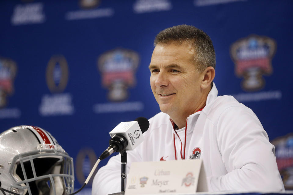 Ohio State coach Urban Meyer speaks during media day for the Sugar Bowl NCAA college football game at the Mercedes-Benz Superdome in New Orleans, Tuesday, Dec. 30, 2014. Ohio State is slated to square off against Alabama on New Year's Day. (AP Photo/Brynn Anderson)