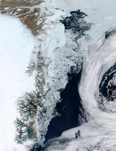 The Zachariae Glacier on Greenland's east coast is seen in a photograph taken by a NASA satellite (AFP Photo/--)