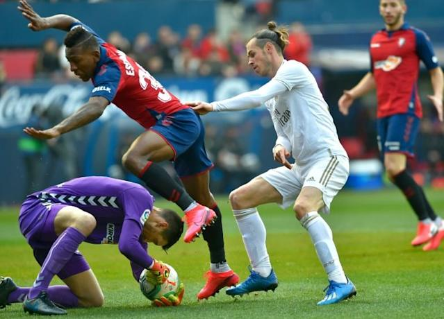 Gareth Bale made a rare start for Real Madrid as they claimed a fine 4-1 win away at Osasuna (AFP Photo/ANDER GILLENEA)