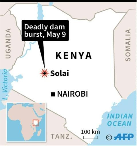 Map of Kenya showing where a dam has burst killing at least 32 people
