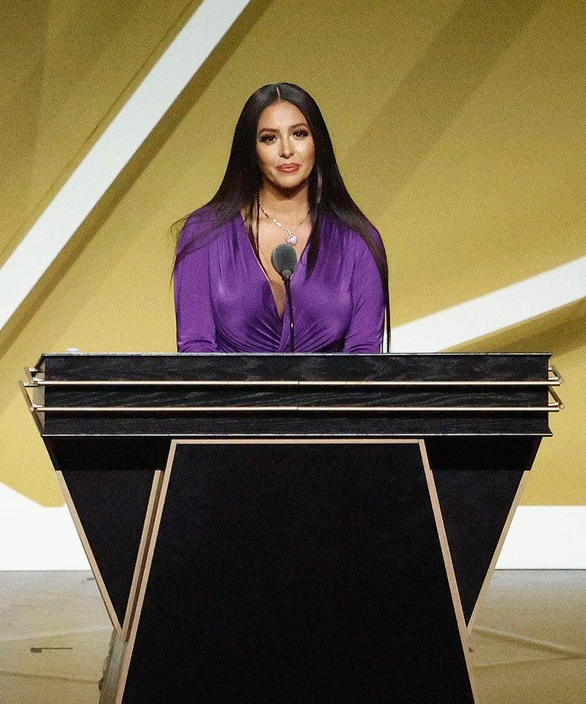 UNCASVILLE, CONNECTICUT – MAY 15: Vanessa Bryant speaks on behalf of Class of 2020 inductee, Kobe Bryant alongside presenter Michael Jordan during the 2021 Basketball Hall of Fame Enshrinement Ceremony at Mohegan Sun Arena on May 15, 2021 in Uncasville, Connecticut. Kobe Bryant tragically died in a California helicopter crash on Jan 26, 2020. (Photo by Maddie Meyer/Getty Images)