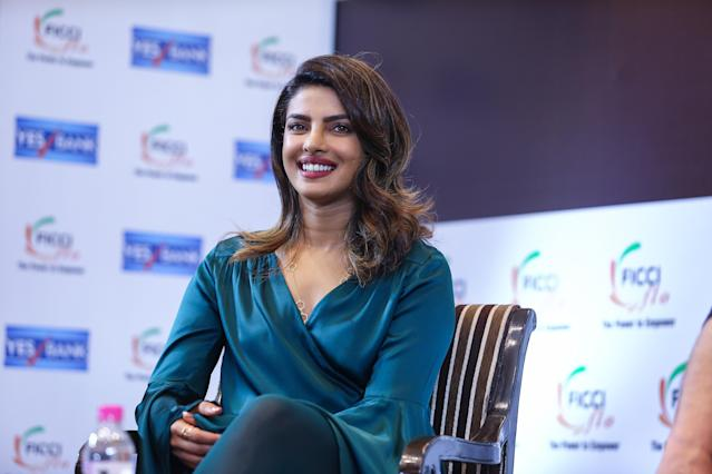 Priyanka Chopra kept her left hand obscured during a recent event in New Delhi, India. (Photo: Raajessh Kashyap/Hindustan Times via Getty Images)