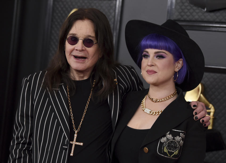 Ozzy Osbourne, left, and Kelly Osbourne arrive at the 62nd annual Grammy Awards at the Staples Center on Sunday, Jan. 26, 2020, in Los Angeles. (Photo by Jordan Strauss/Invision/AP)