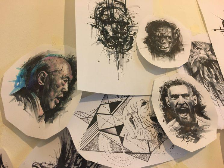Artistic sketches done by realism tattoo artist Aelvin Lim pasted on the walls of his studio. (Photo: Yahoo Lifestyle Singapore)